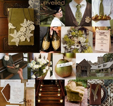 olive-green-brown-cream-vintage-wedding-inspiration-board