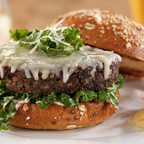 Wisconsin Asiago Veggie Burger with Kale Parmesan Caesar Salad