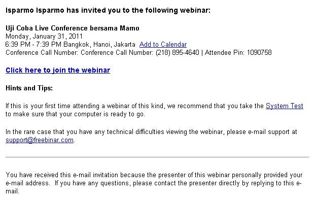 Email Invitation Freebinar