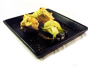 Pechuga de pollo con berenjena y calabacin