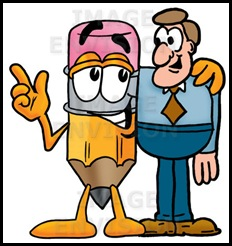 yellow_number_2_pencil_with_an_eraser_cartoon_character_talking_to_a_business_man