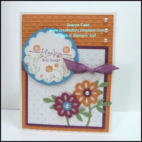 CS32C, Sharon Field, Created By You, Color Challenge, Silhouette Sentiments, Stampin' up, Blossom Punch, Embossing