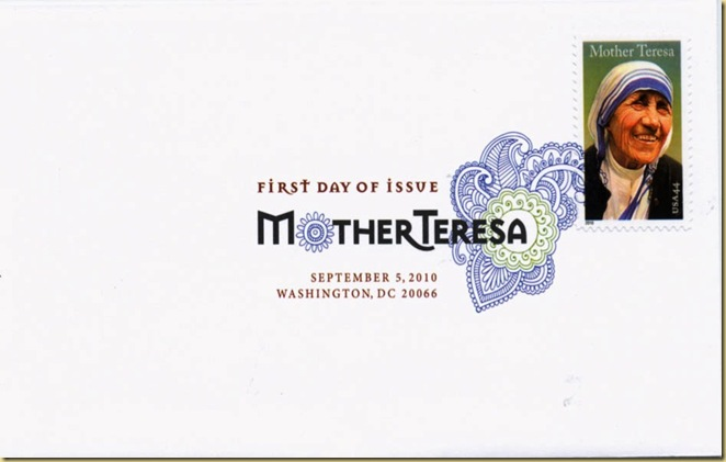 USA Mother Teresa fdc digital can 5 sep 10