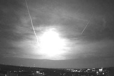 A rooftop camera at the University of Wisconsin captures the fireball