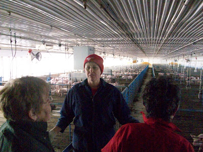 JWV Co Owner Heidi Vittetoe gives a tour of one of her facilities to a group of California residents
