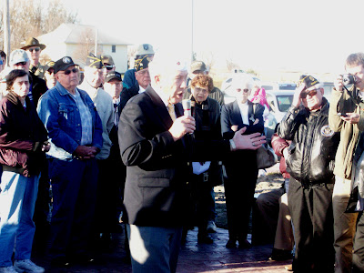 Iowa American Legion Commander Marlin Tillman Speaks at the unveiling ceremony for Washington County's new All Veterans Memorial Park (11/11/09 - KCII NEWS)