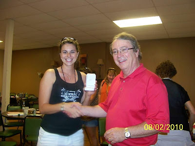 &quot;Ladys Fun Day&quot; Champion Stacy Flynn Pictured With Chamber Executive Director Tim Coffey.<br />