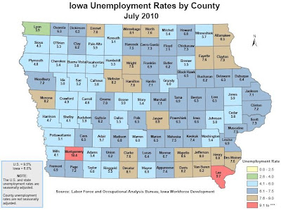Unemployment In Iowa Ranged From 3.9% In Lyon County to 10.4% In Montgomery County.  The Statewide Average For July Was 6.8%.<br /> (Washington Economic Development Group)