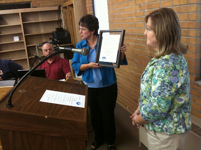 Lending Hands Director Susan Wellington Receives A Copy Of The Official Proclamation Of Adult Day Services Week From Washington Mayor Sandra Johnson.<br /> (KCII's Chance Dorland)
