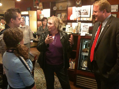 Governor Chet Culver Met With Employees And Area Residents In Cafe Dodici And Other Washington Businesses.<br /> (KCII's Chance Dorland)