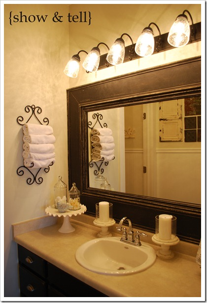Framed mirror tutorial sweet pickins furniture for How to frame mirror in bathroom