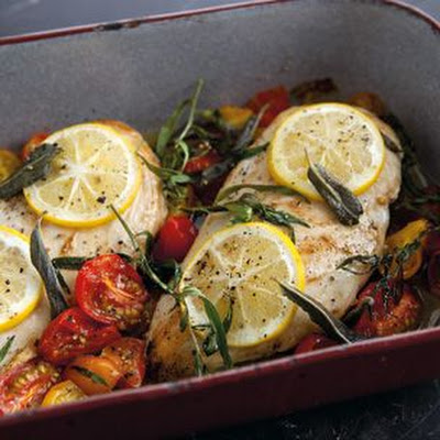 Baked Chicken with Cherry Tomatoes, Herbs and Lemon