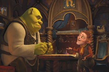 Shrek (MIKE MYERS) contemplates the deal of a lifetime from Rumpelstiltskin (WALT  DOHRN) in DreamWorks Animation?s ?Shrek Forever After,? releasing May 21, 2010  and distributed by Paramount Pictures.