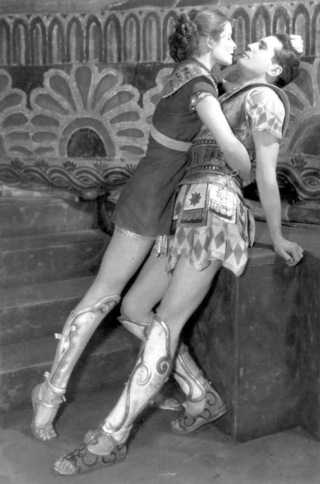 Katharine Hepburn as Amazon warrior princess Antiope  Colin Keith-Johnston as Theseus in stage production of The Warriors Husband 1932)