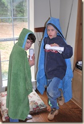 2 wii players modelling their towel