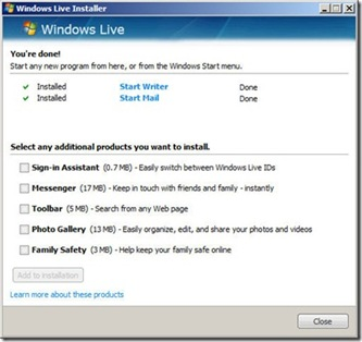 Screenshot online WindowsLiveInstaller