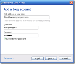Masukkan data akun blog disini