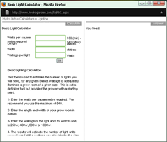 Screenshoot Online Lighting Calculator...