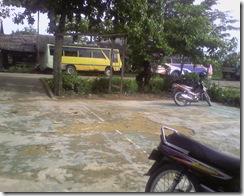 bus antrian di tepi jalan