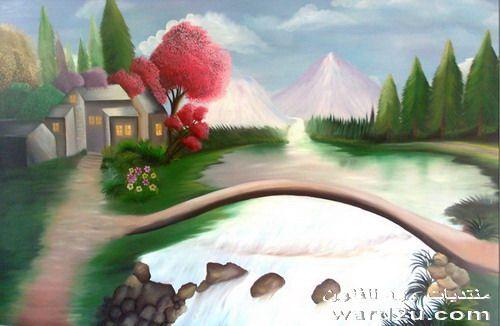 احدى لوحاتى الزيتيه المنفذه على الخشب
