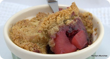 Apple and Blackberry Crumble inside