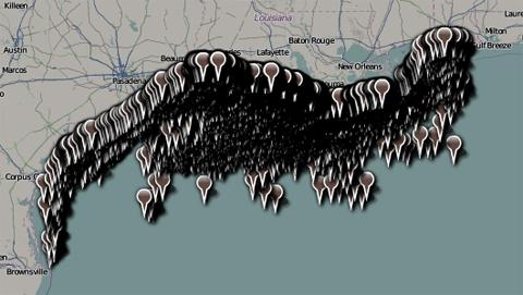 Gulf oil wells