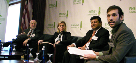 From Left: Jeffrey Marqusee, Cathy Zoi, Arun Majumdar,  Alexis Madrigal (Image Credit: Andrew Revkin)
