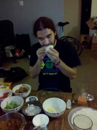 josh eating a taco