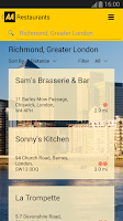 Screenshot of 2014 AA Restaurant Guide