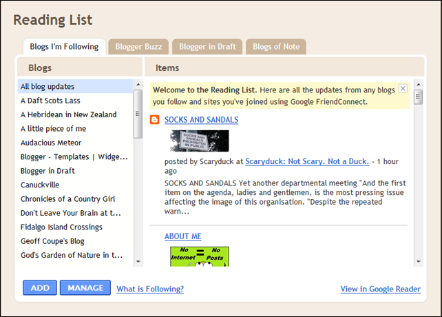 Reading List on your Dashboard in Blogger