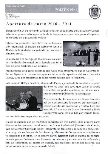 boletín AMPA - ACTO de APERTURA del CURSO Conservatorio y Escuela de Música Manuel de Falla de Alcorcón 2010/2011
