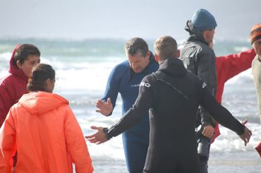 Whales beach in Kommetjie, Cape Town, South Africa.  Arguing with an official.