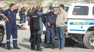 Whales beach in Kommetjie, Cape Town, South Africa. SAPS Police Diving Unit
