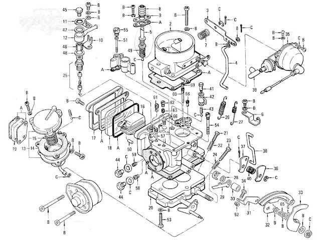 Datsun Pickup 520/521 Parts illustration no. 008E-1 Carburetor (L16-Hitachi) (From Jun.-'71)