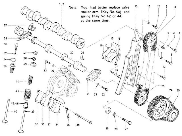 Datsun Fairlady Parts illustration no. 004A-1 Camshaft, Chain & Valve Mechanism 2000 (U20)