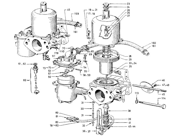 "Datsun Fairlady Parts illustration no. 008-1 Carburetor 1600 (R16) ""SU"" [1]"