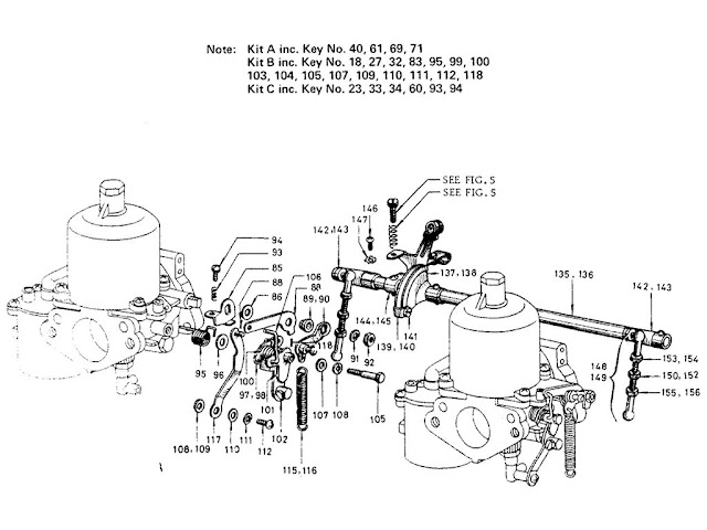 "Datsun Fairlady Parts illustration no. 008-3 Carburetor 1600 (R16) ""SU"" [3]"