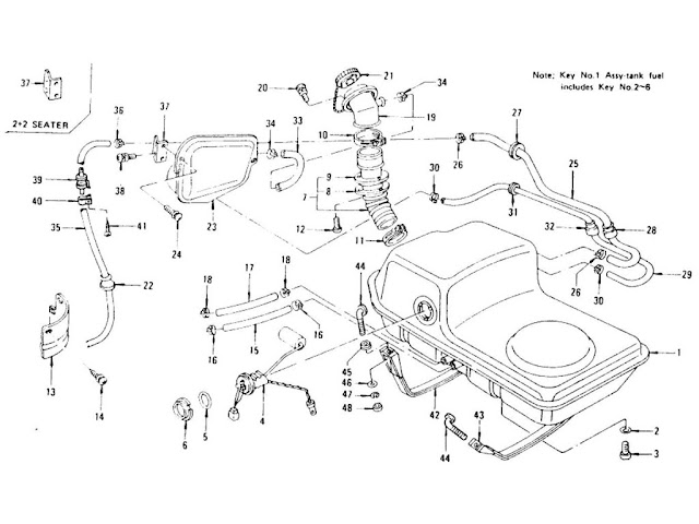 Datsun 240Z/260Z/280Z Parts illustration no. 039-1 Fuel Tank L28E (To Jul.-'76)