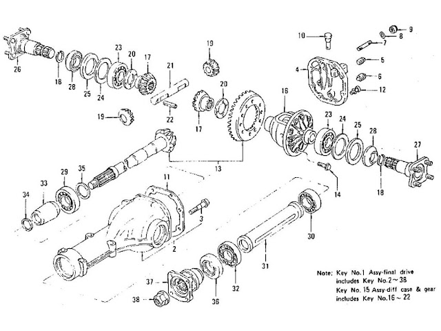 Datsun 240Z/260Z/280Z Parts illustration no. 088B-1 Differential Gear, Pinion & Cover (R200)