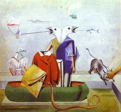 ernst birds fish-snake and scarecrow 1921