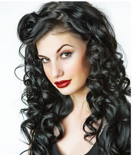 long black curly hairstyle with curly side bangs Long Curly Hairstyles