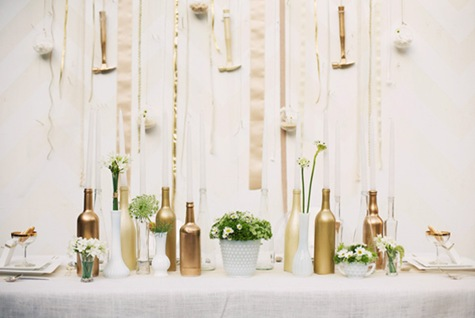 wine bottles centerpiece