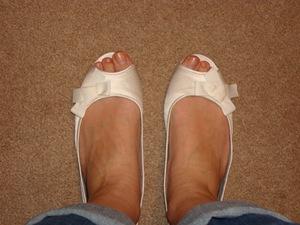Dessy Satin Peep Toe Flats, Ivory