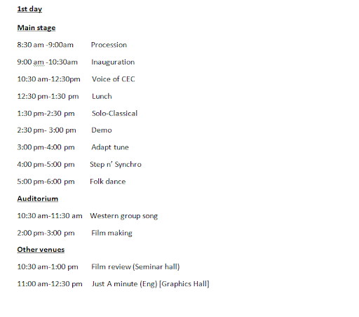 Utsav 10 - On-Stage Events Schedule Part 1 of 3