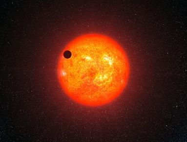 ilustração do exoplaneta GJ 1214b em trânsito
