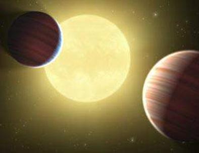 ilustração de dois planetas na mesma órbita