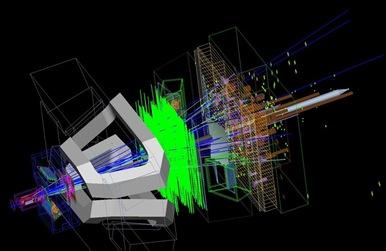 simulação de colisão de partículas no LHCb