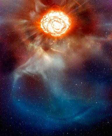 concepção artística da estrela supergigante Betelgeuse