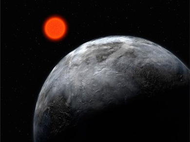 Gliese 581d ao redor de sua estrela anã vermelha