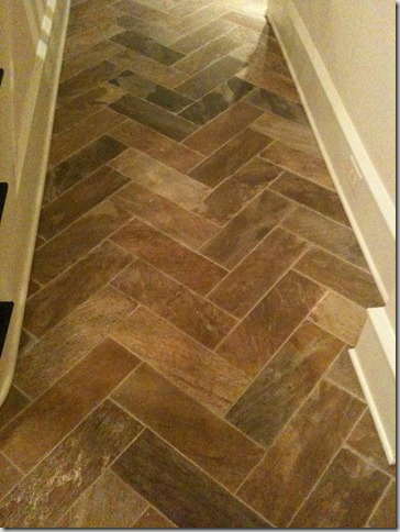 This Stone Floor In A Herringbone Pattern Is In The Basement Of A